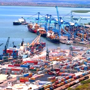 Aerial view of Mombasa container port