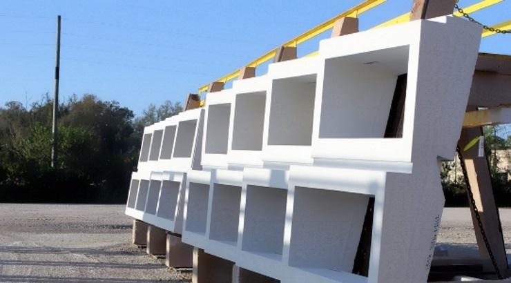 A precast concrete wall
